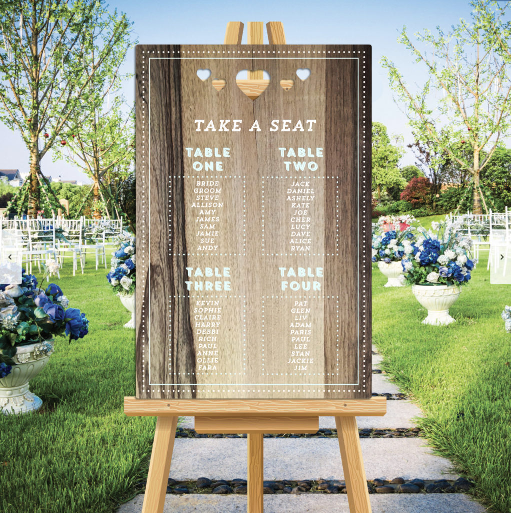 Heart Theme Wedding Table Seating Plan