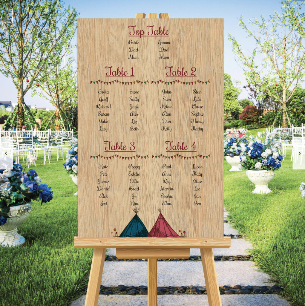 Marquee Theme Wedding Table Seating Plan