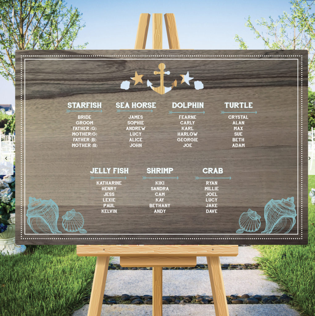 Nautical Theme Wedding Table Seating Plan