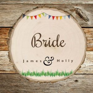 Woodslice coaster wedding place names