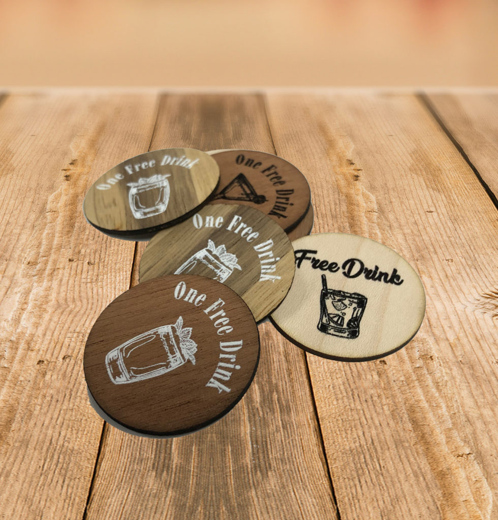 Wooden Drink Tokens