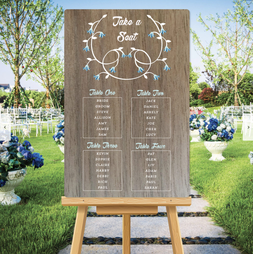 Bluebell Theme Wedding Table Seating Plan