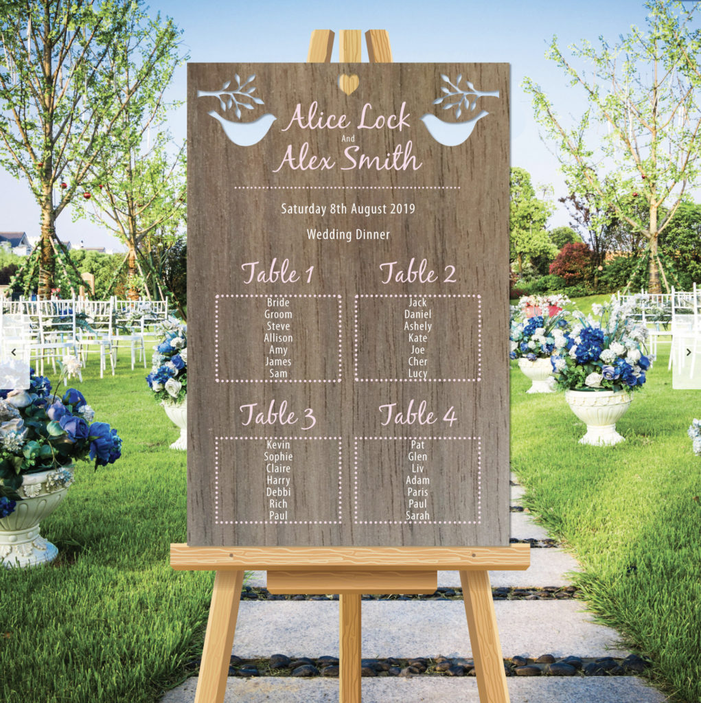 Love bird Theme Wedding Table Seating Plan