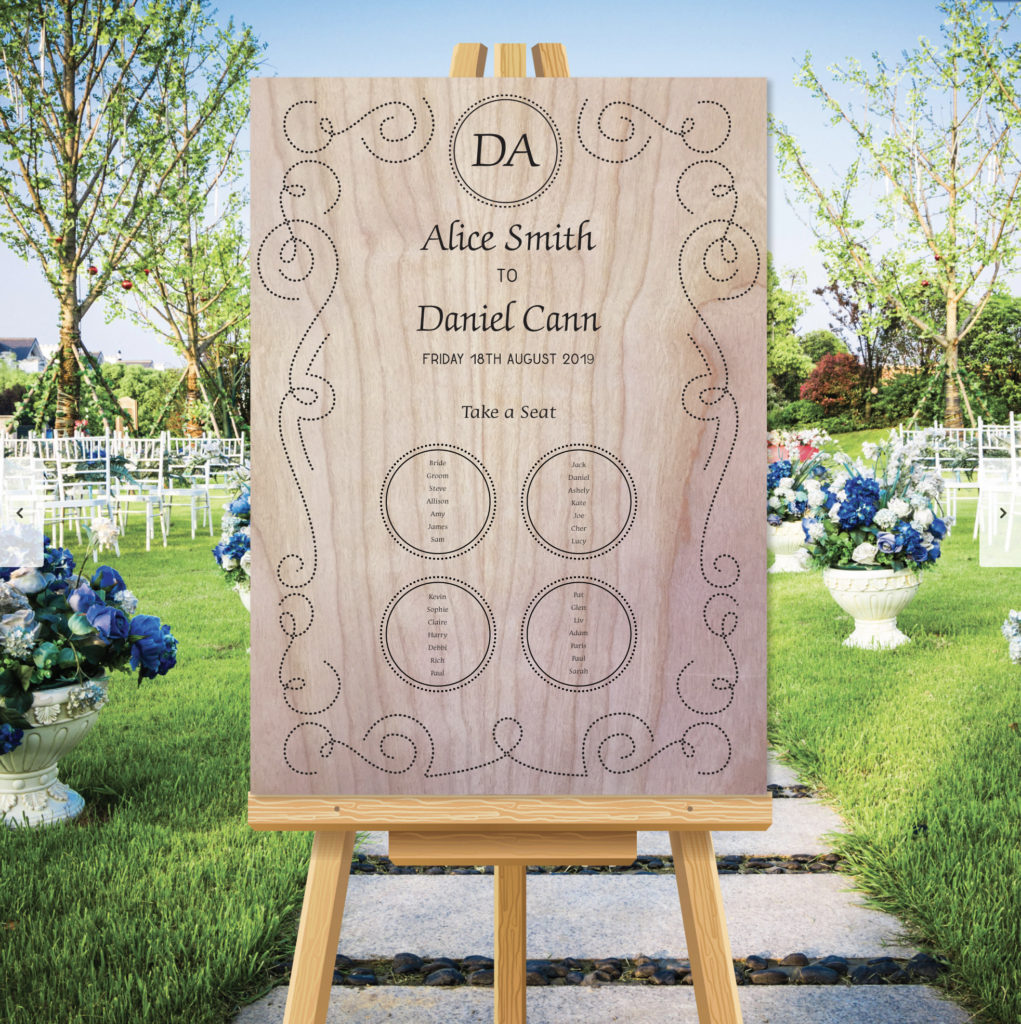Scroll Theme Wedding Table Seating Plan