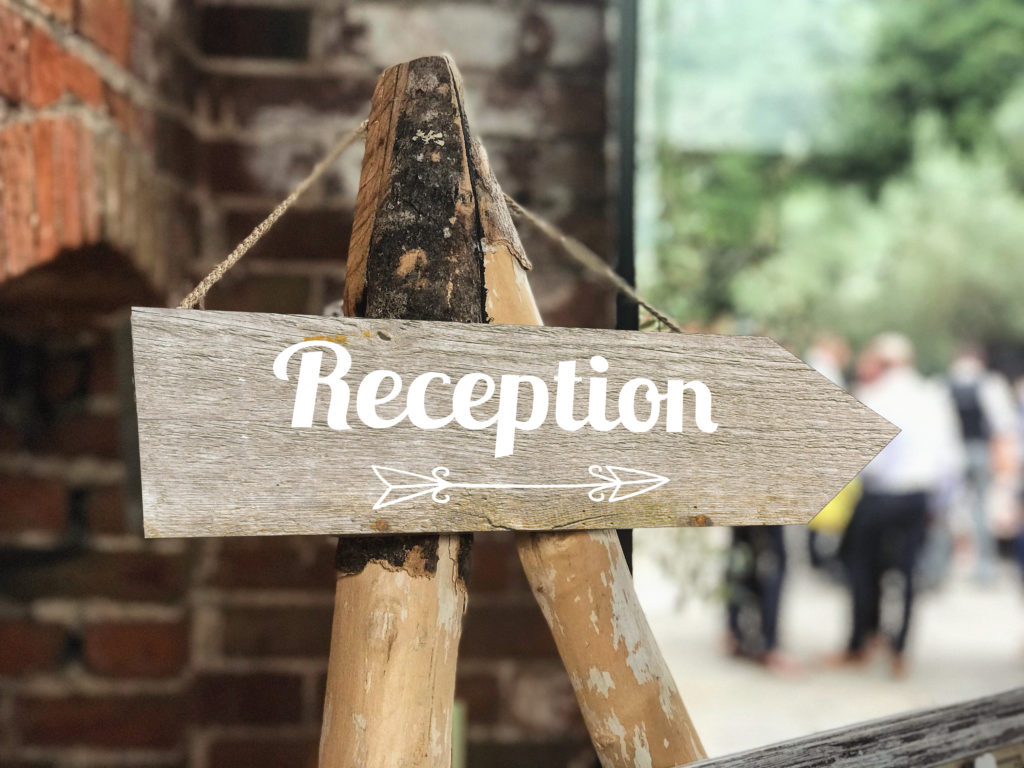 Reception This Way Wedding sign