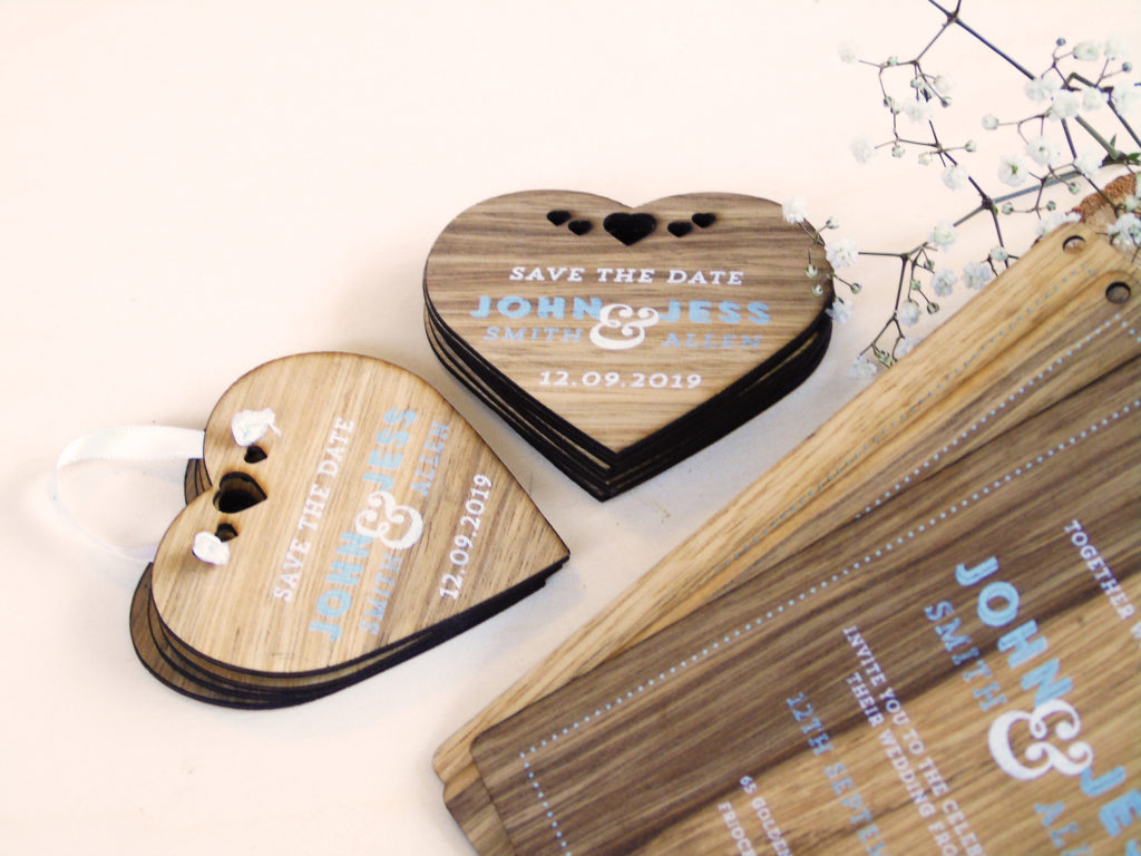 Heart shaped Wooden Save the Date Cards