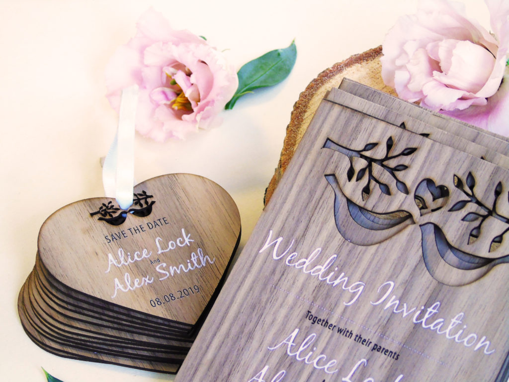 Love Birds Wooden Save the Date Cards
