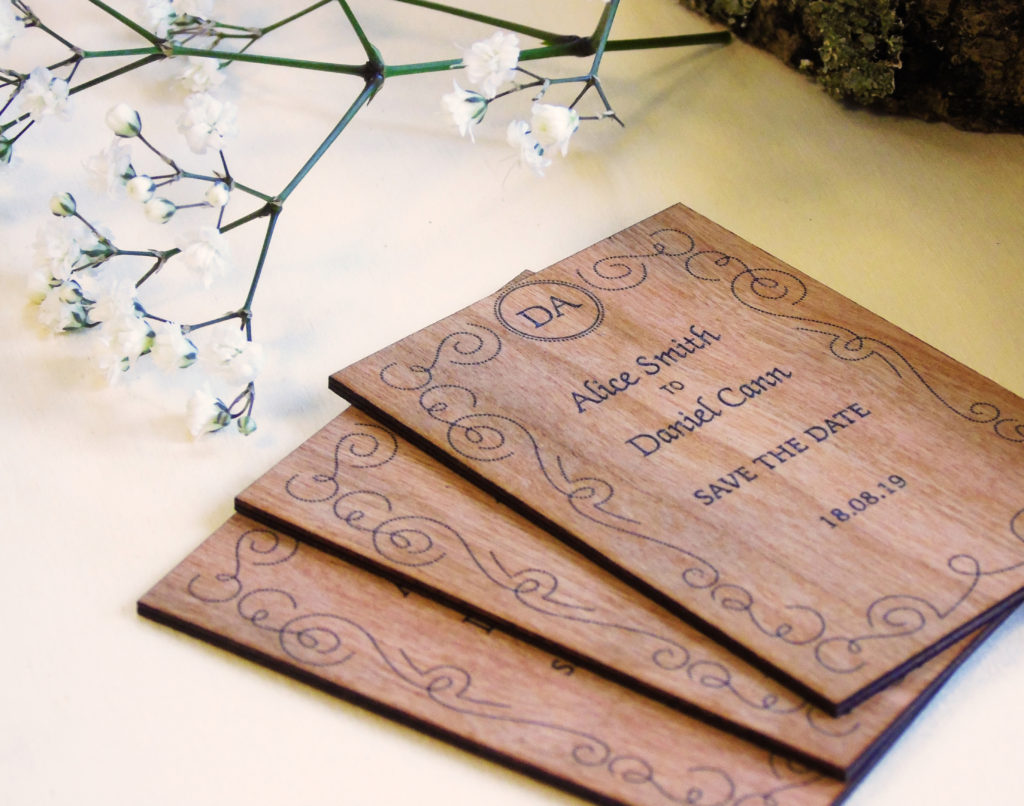 Scroll Wooden Save the Date Cards