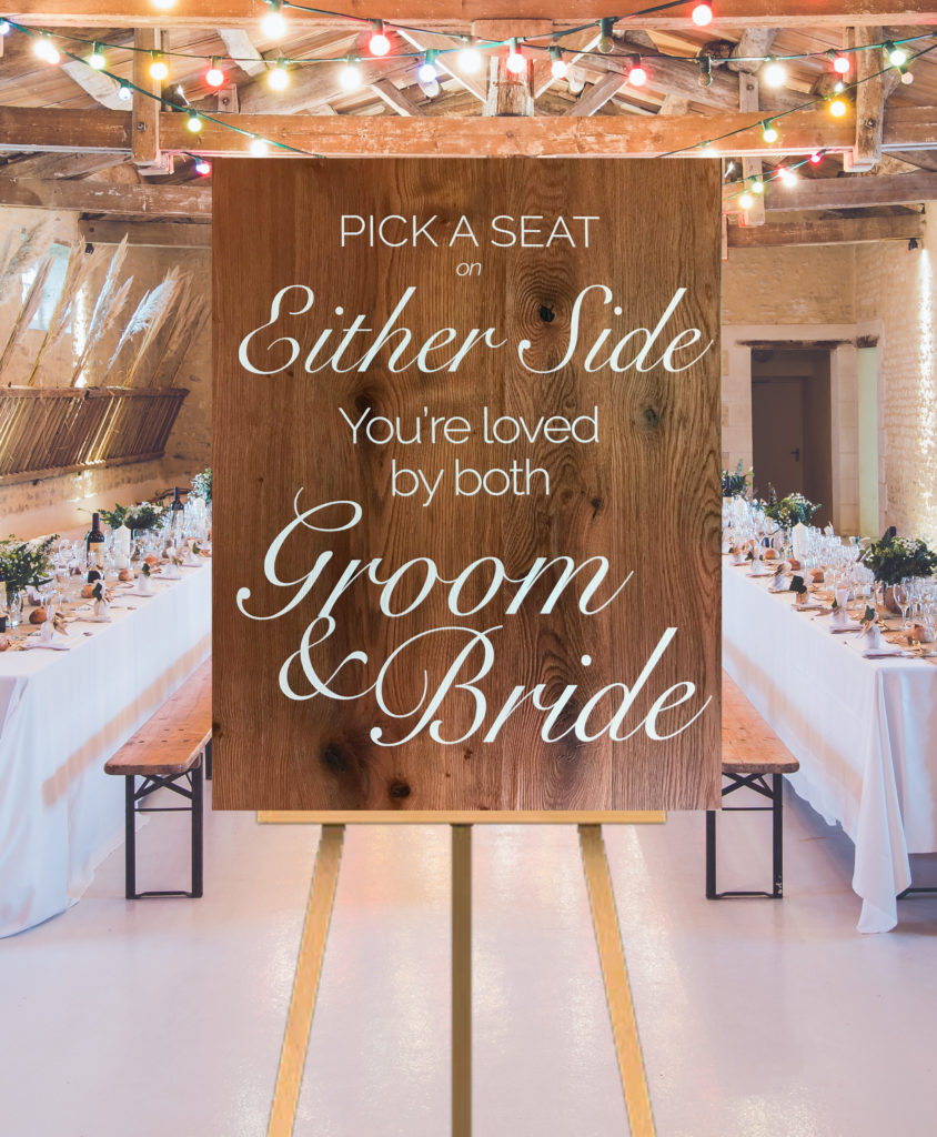 Pick Either Side Wedding Sign
