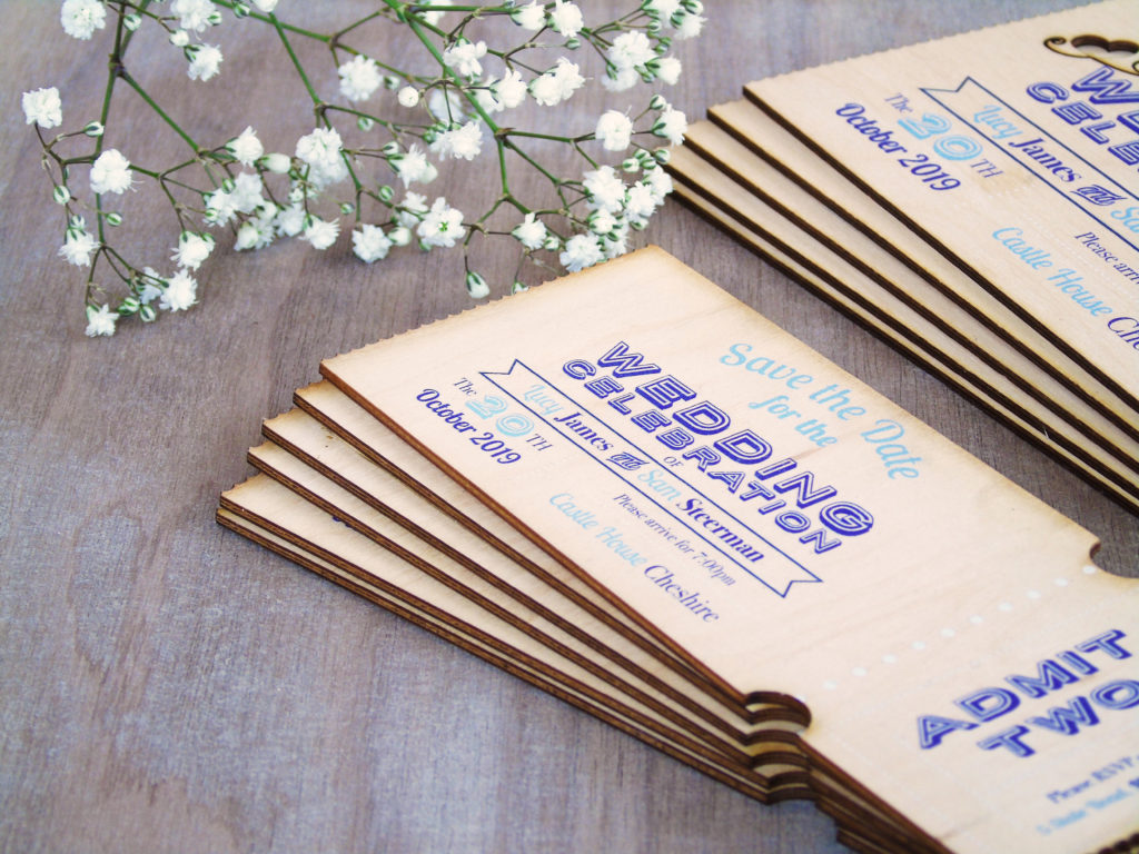 Ticket Style Wooden Save the Date Cards