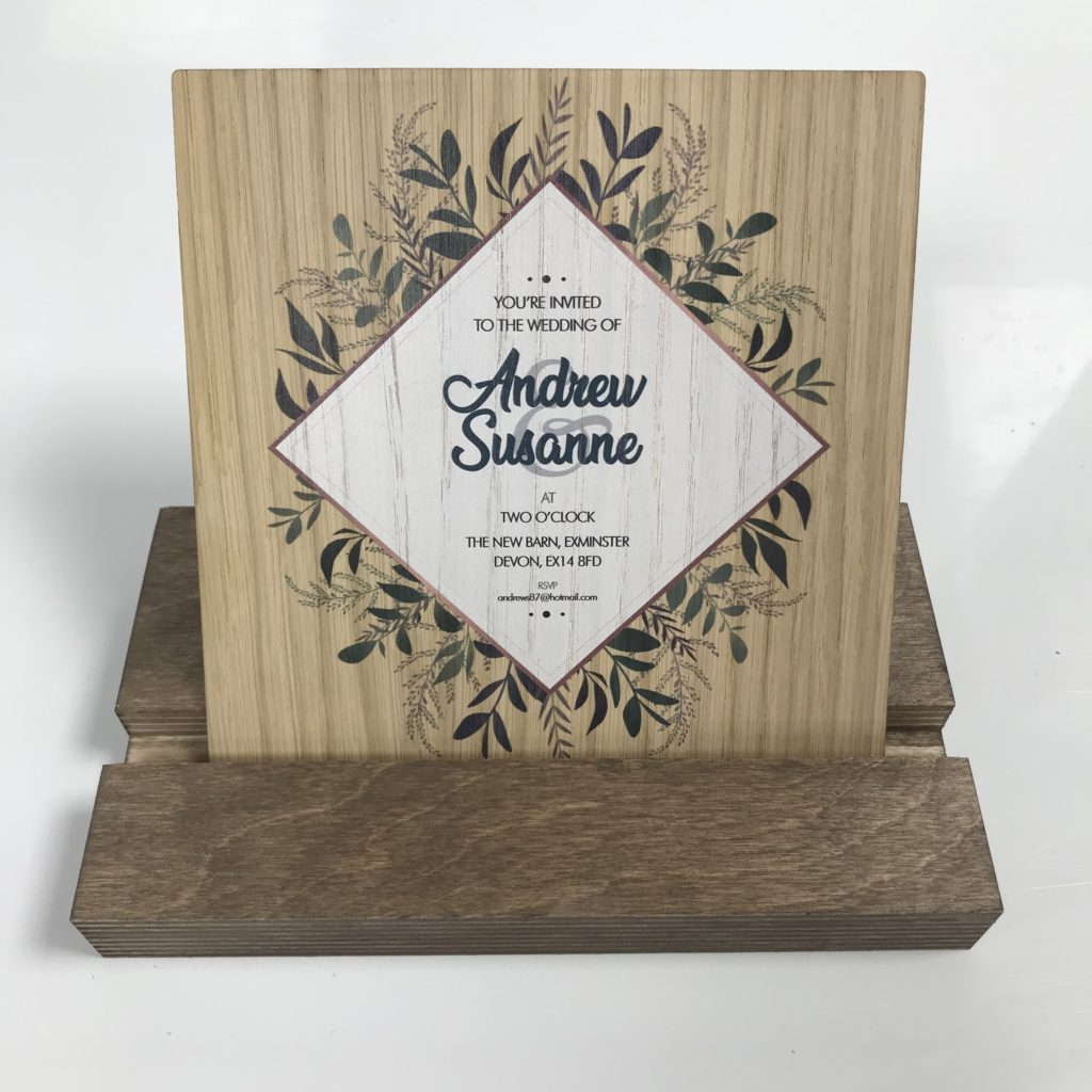 Greenery Foliage Wooden Wedding Invitation