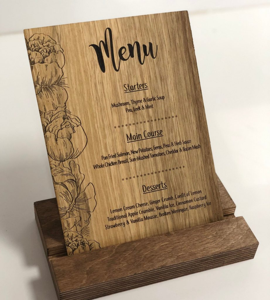 Wooden Menu for Wedding